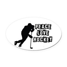 Peace, Love, Hockey Oval Car Magnet