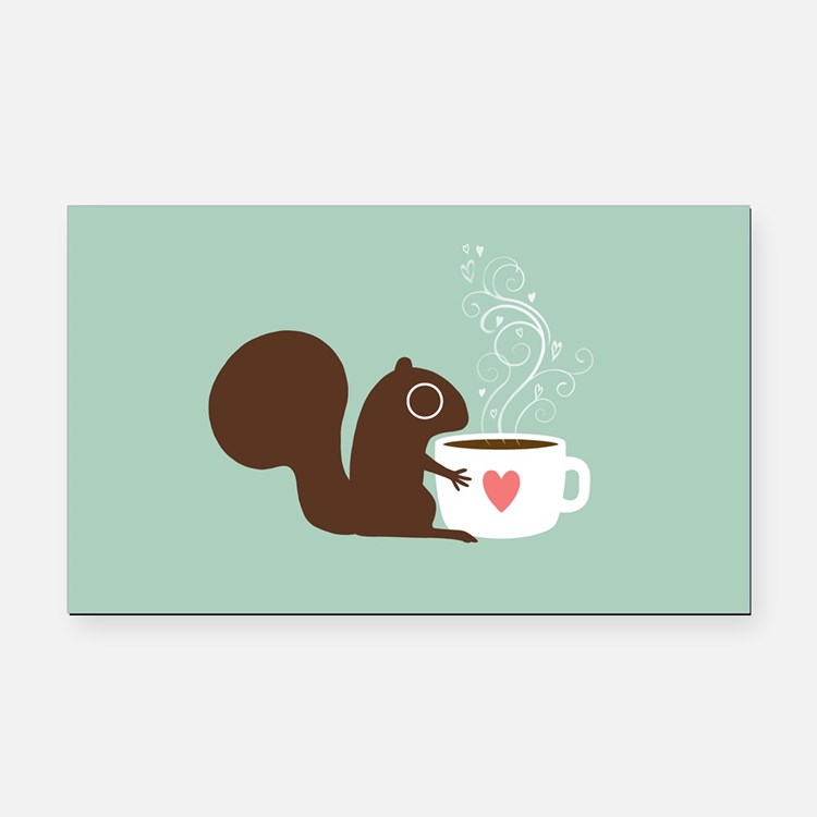 Coffee Squirrel Rectangle Car Magnet