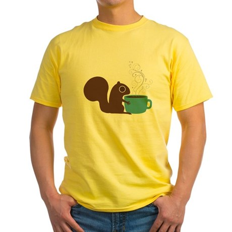 Coffee Squirrel Yellow T-Shirt