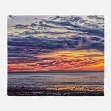 Colorful Cloudy Sunset over the Ocea Throw Blanket