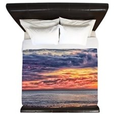 Colorful Cloudy Sunset over the Ocean King Duvet