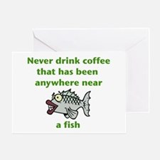 Fish Coffee Greeting Cards