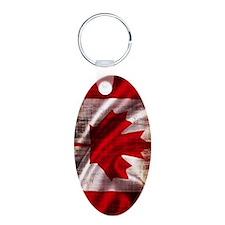 Canadian Flag Vertical Aluminum Oval Keychain