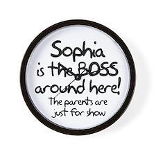 Sophia is the Boss Wall Clock