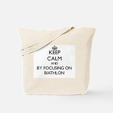 Keep calm by focusing on Biathlon Tote Bag