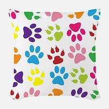 Paw prints Woven Throw Pillow