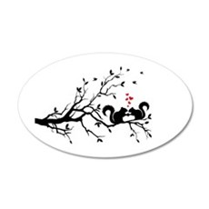 squirrel couple in love on tree branch Wall Decal
