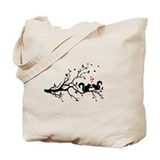 squirrel couple in love on tree branch Tote Bag