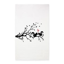 squirrel couple in love on tree branch 3'x5' Area