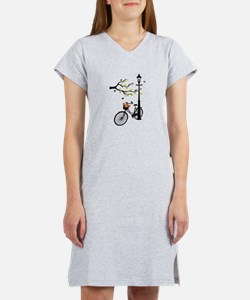 Old vintage bicycle with tree Women's Nightshirt