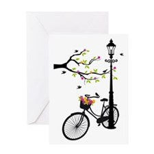 Old vintage bicycle with tree Greeting Cards