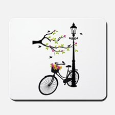 Old vintage bicycle with tree Mousepad