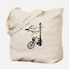 Old vintage bicycle with tree Tote Bag