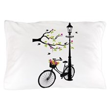 Old vintage bicycle with tree Pillow Case
