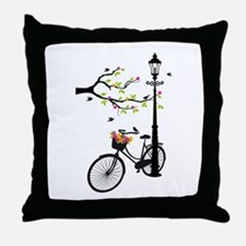 Old vintage bicycle with tree Throw Pillow