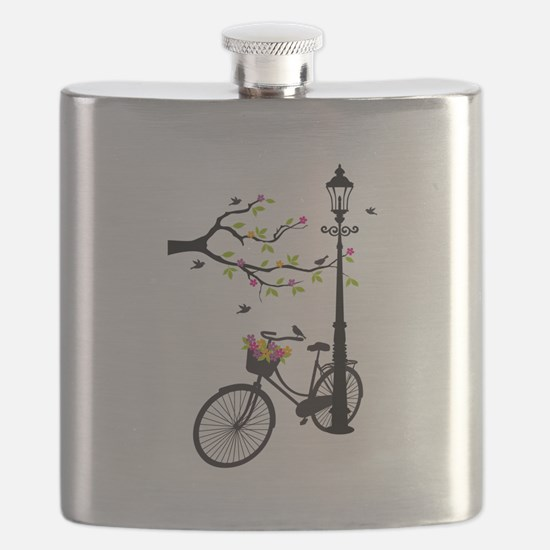 Old vintage bicycle with tree Flask