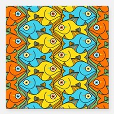 """Something is Nicely Fish Square Car Magnet 3"""" x 3"""""""