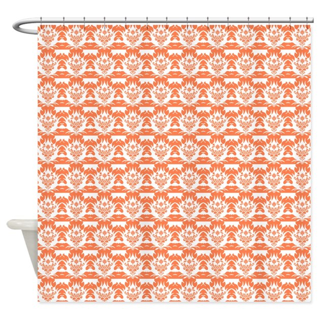 coral damask shower curtain by showercurtainsworld