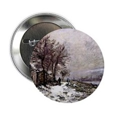 "Monet - Lavacourt in Winter 2.25"" Button"