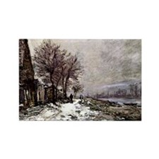 Monet - Lavacourt in Winter Rectangle Magnet