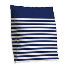 Trendy Blue and White Striped Pattern Burlap Throw