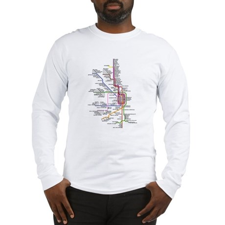 Chicago CTA System Map Long Sleeve T-Shirt