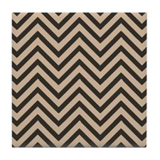 Dark Brown and Tan Chevron Pattern 3 Tile Coaster