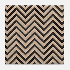 Dark Brown and Tan Chevron Pattern 3 Tile Coaster