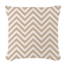 Tan and White Chevron Pattern 3 Woven Throw Pillow
