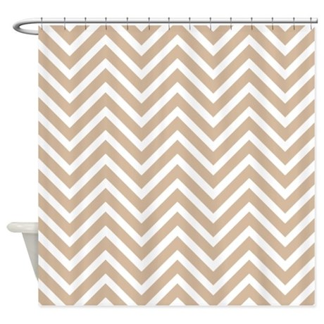 Tan And White Chevron Pattern 3 Shower Curtain By