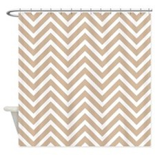 Tan and White Chevron Pattern 3 Shower Curtain