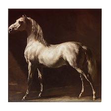 White Arabian Horse Tile Coaster