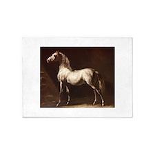 White Arabian Horse 5'x7'Area Rug