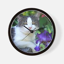 Cat in the garden Wall Clock