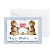 Twin Boy Bears Greeting Card
