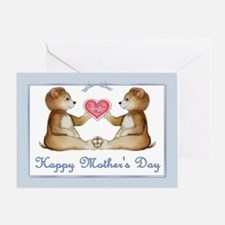 Twin Boy Bears Greeting Card
