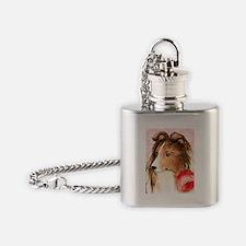 Sheltie Rose Flask Necklace