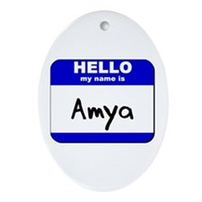 hello my name is amya  Oval Ornament