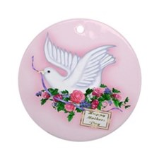 Dove & Flowers Ornament (Round)