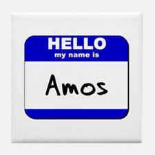 hello my name is amos  Tile Coaster