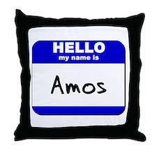 hello my name is amos  Throw Pillow