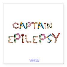 """Captain Epilepsy Button Square Car Magnet 3"""" x 3"""""""