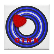 LEATHER PRIDE/OINK/ROUND Tile Coaster