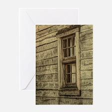 rustic window western country farm h Greeting Card