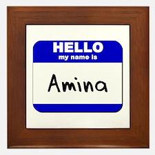 hello my name is amina  Framed Tile