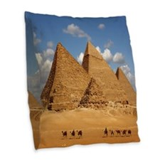 Giza Pyramids Burlap Throw Pillow