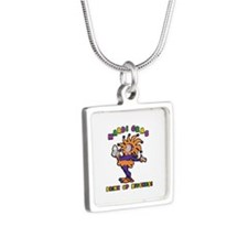 Mardi Gras Drink Up Bitche Silver Square Necklace