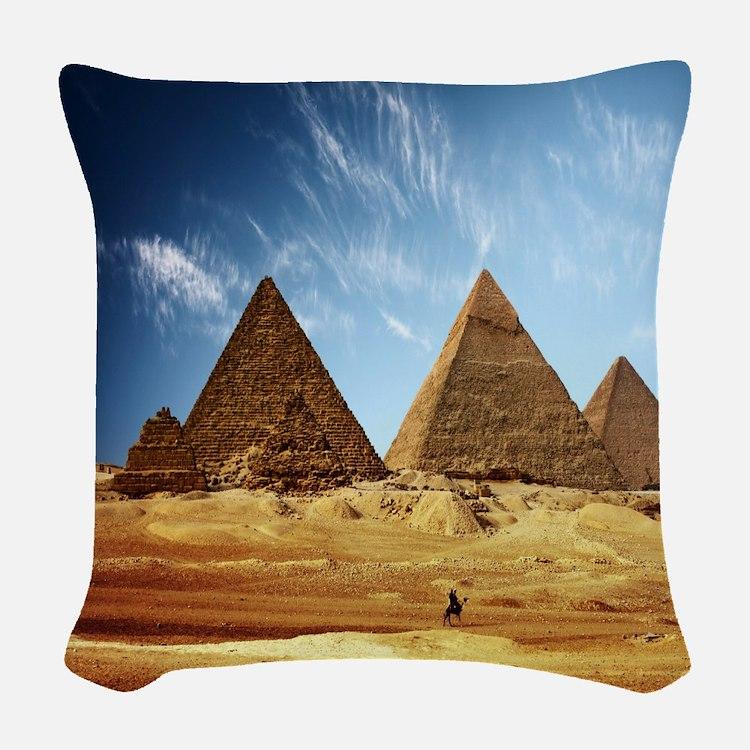 Giza Pyramids Woven Throw Pillow