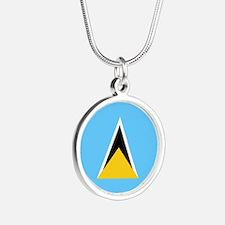 Saint Lucia Flag Silver Round Necklace
