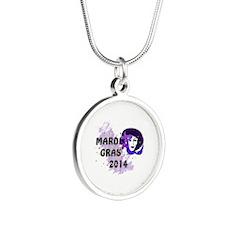 Mardi Gras 2014 Silver Round Necklace